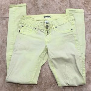 Express yellow jeans